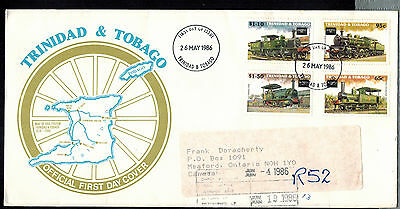 TRINIDAD & TOBAGO 1986 REGISTERED TRAINS FDC * to MEAFORD, ONT., CANADA