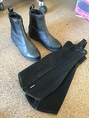 Black Dublin US8 Paddock Riding Zip boots And Half Chaps SzM Worn Once. New Cond