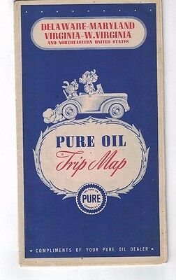1946 PURE OIL TRIP MAP Gas Station Road Map Delaware Maryland Virginia WV