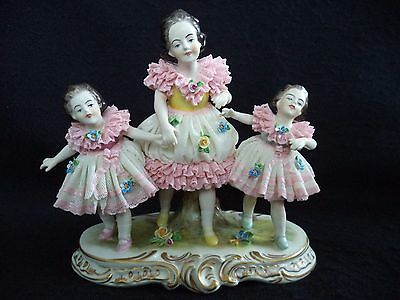 Dresden Lace porcelain figural group 3 girls sisters Oldest Volkstedt Germany