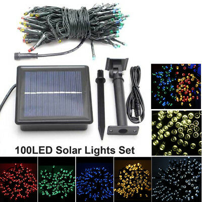 Solar Panel Power & USB Charging 100 LED Garden Light Strings Outdoor Xmas Party