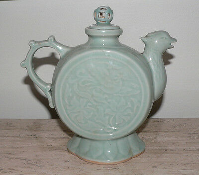Vintage Chinese Celadon Phoenix Spout Teapot Hallmarked W/chinese Lettering