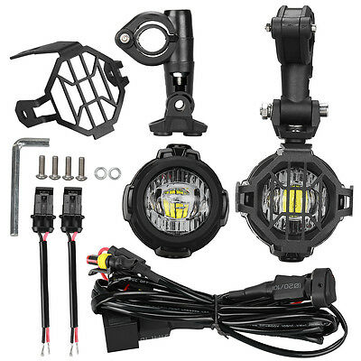 LED Auxiliary Fog Driving Light Kit with Protect Guard Wiring Harness Motorcycle