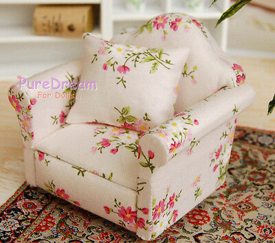 Upholstered Armchair with Cushion 1:12 Dollhouse Miniature Furniture WL0552