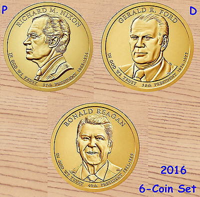 2016 P & D  6-Coin Set Presidential Dollar  NIXON, FORD & REGAN Uncirculated