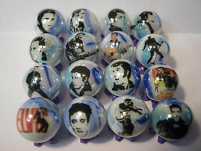 ELVIS PRESLEY GLASS MARBLES 5/8 SIZE collection lot + STANDS
