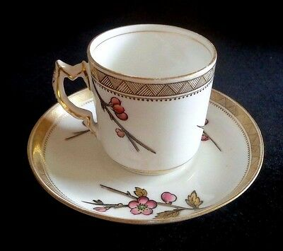 Vintage Aynsley's  Demitasse Cup & Saucer Pink Flowers Gold Branches & Leaves