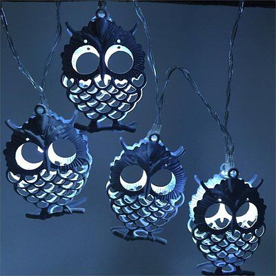 Battery LED String Light Metal OWL Drip Patio Wedding Party Christmas Decoration