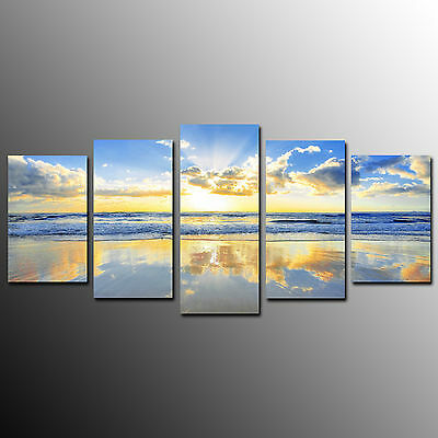 Canvas Prints Wall Art Picture For Home Decor Sunrise on Seaside-5pcs-No Frame