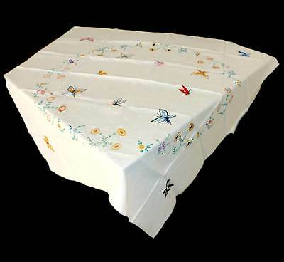Vintage beautiful butterfly embroidered linen large square tablecloth 130cm