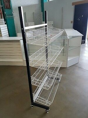 4 level basket stand trolley on wheels for shop home or warehouse
