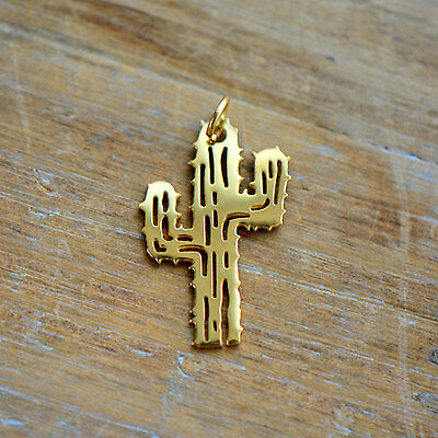 Cactus Silhouette Charm Link Brushed 24k Gold Plated Stainless Steel Pendant