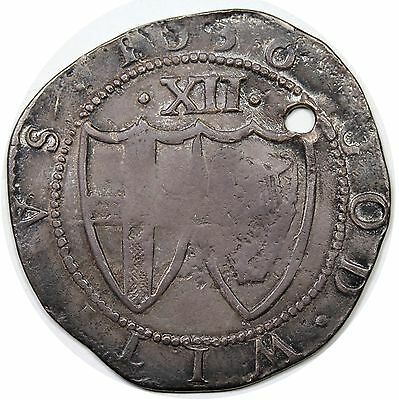 1656 Great Britain Commonwealth Shilling, VG-F detail, holed