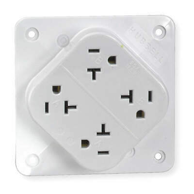 HUBBELL WIRING DEVIC Polycarbonate Receptacle,Quad,20A,5-20R,125V,White, HBL420W