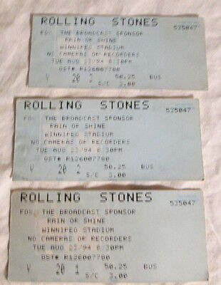 3 Vintage Rolling Stones Tickets