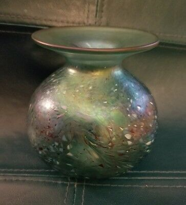 Beautiful Antique Vintage Signed Iridescent Aqua Art Glass Vase With Pontil Mark