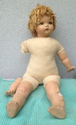 "Vintage Composition Baby Doll with Cloth Body - Unmarked - 28"" - Needs TLC"