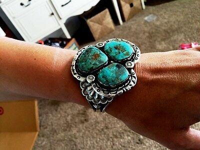 HUGE- Three stone Sterling silver and Turquoise bracelet --  Vintage appeal -