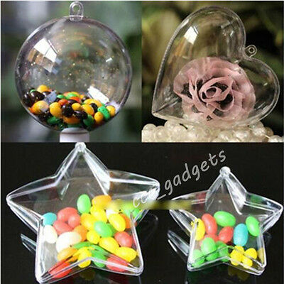 Clear Plastic Heart/Star Shaped Hanging Christmas Tree Candy Box Baubles Wedding