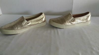 American Eagle Women's 8M Gold glitter Slide On Everyday Loafer Flats