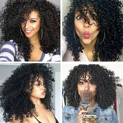Women Long Curly Wavy Black Wig Full Head Synthetic Black Hair Lace Front Wigs