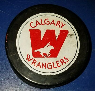 VINTAGE WHL CALGARY WRANGLERS game PUCK CIRCA 1984-85 old beauty