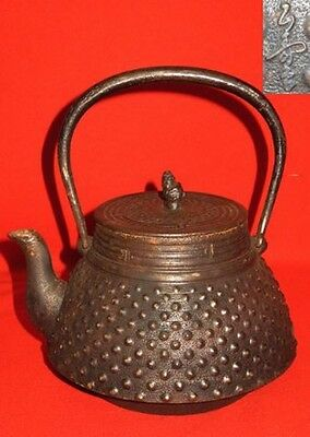 Japanese Antique KANJI old Iron Tea Kettle Tetsubin teapot Chagama432