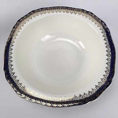 Vintage Alfred Meakin England Large Serving Bowl BLEU DE ROI Blue Gold Filigree