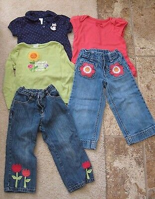 Lot of 5 Girls Gymboree 2T & 3T with jeans, long sleeves, short sleeves