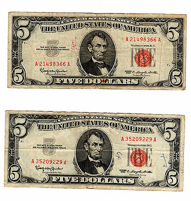 Lot Of Two Five Dollar United States Notes