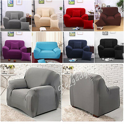 Easy Fit 1-4 Seater Stretch Sofa Couch Chair Armchair Spandex/Thick Plush Covers