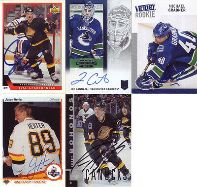 5 signierte Trading Cards NHL - Vancouver Canucks