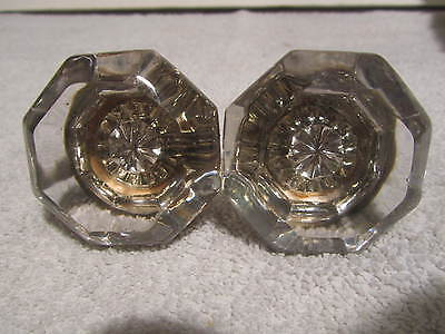 Antique Vintage 8 Point Glass Door Knobs  Nice