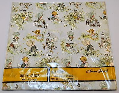 Holly Hobbie Gift Wrap Vintage Wrapping Paper American Greetings 2 Sheets NIP