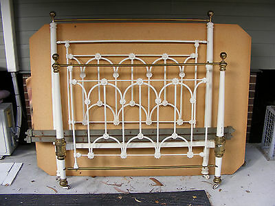 Brass & Iron Victorian Double Lace Ended Bed With Tapered Colomns c1880