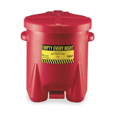 EAGLE Oily Waste Can,6 Gal.,Poly,Red, 933-FL