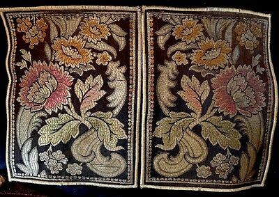 Lot, 2 1920s Italian Tapestry Doilies, Romantic Design Frills~Roses! Velvet Back