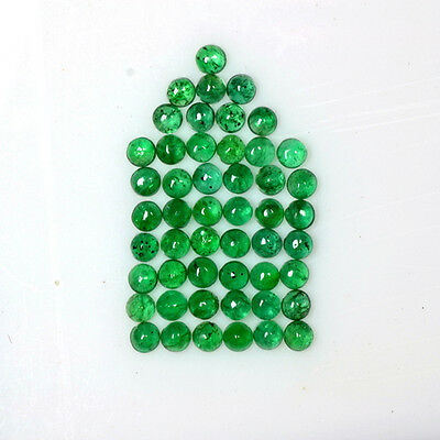4.37 Cts Natural Lustrous Green Emerald Round Cabochon Lot 2.5 mm Zambia Mined $