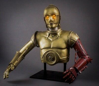 Star Wars prop life sized 1:1 scale C3P0 upper bust with light up eyes / arms