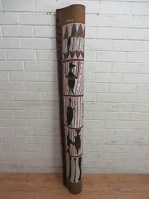 Aboriginal Bark Painting - Large Wall Hanging Or Standing Totem