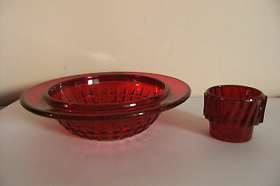 Red Depression Glass Dish And Small Glass