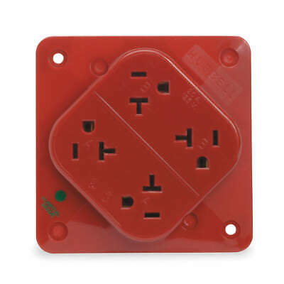 HUBBELL WIRING DEVICE Polycarbonate Receptacle,Quad,20A,5-20R,125V,Red, HBL420HR