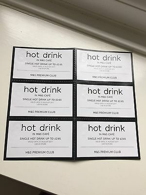 M&S Cafe Hot Drink Voucher x 6 Validity 31AUG17 Worth £15.90