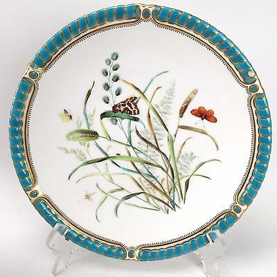 Antique ROYAL WORCESTER Hand Painted Plate With Gold And Turquoise Butterfly