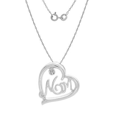 Natural Diamond Accents Mom Heart Pendant 14k Gold Over 925 Sterling Silver