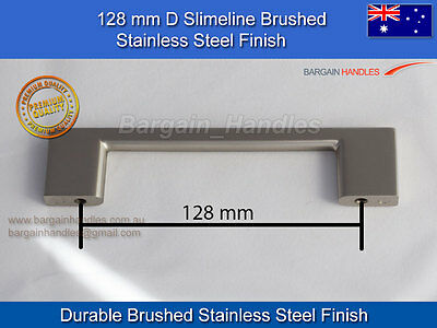 kitchen Cupboard Door/ Drawer handles Brushed Stainless Steel Finish 35x128mm