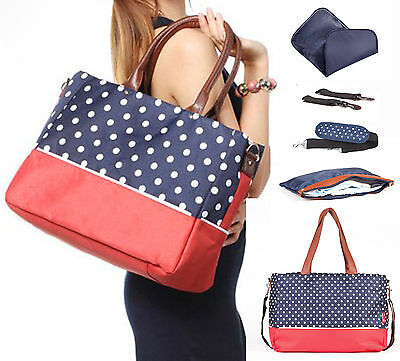 Allis Baby Changing Bag Insulated Morden Diaper Nappy Bag FREE PVC - Blue Red