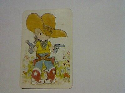 "1 Single Swap/Playing Card-Sarah Kay""Unsigned Boy Dressed as Cowboy (Blank Back)"