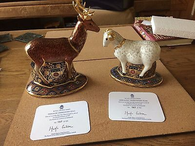 Royal Crown Derby heraldic derbyshire stag and ram goviers no 167
