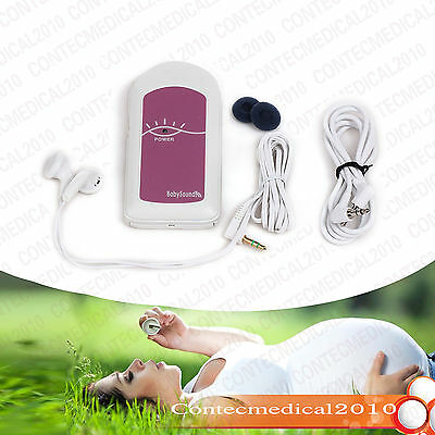 Fetal Doppler Prenatal FHR Baby Heart sound Monitor 1Gel FREE pink (NO DISPLAY)